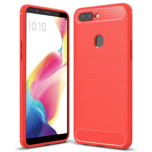 Flexi Carbon Fibre Texture Shockproof Case for Oppo R11s - Red